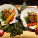 旬魚と個室居酒屋 嵐山  - 大粒ホタテの醤油香味焼き