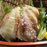 旬魚と個室居酒屋 嵐山  - 九州名物 胡麻カンパチの炙りのアップ