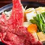 盃花羅亭 - 県産黒毛和牛のすき焼き
