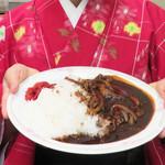 ちんや - ハヤシライス750円+お肉大盛り320円。ハヤシライスは赤い色かと思っていましたが、かなりの褐色でした。