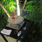 恵比寿 箸庵 - 砂時計で時間を計ります