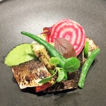 56377861 - 北海道産秋刀魚のマリネとビオ野菜