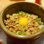 焼鳥 おがわ - そぼろご飯(卵かけご飯とチョイス可)