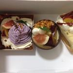 白十字 - 料理写真:紅はるかと金時芋ショート、紫芋のデセール、いちじくと紅はるかのデセール