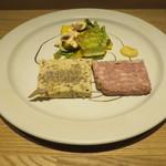 月下 - パテ・ド・カンパーニュと帆立のテリーヌ マッシュルームとアンディーヴ、レタス、スズカボチャのサラダ1
