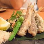 魚輝 - 豆鯵とメヒカリの唐揚げ@1180円