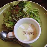 ニコニコ - 葉野菜サラダと白菜の冷製スープ