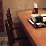 里の宿 - 10人掛けのテーブルの端っこです。