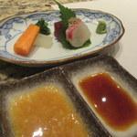 和食 浮橋 - お造りと野菜(左のソースは野菜用)