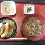 ぜん波 - 天丼野菜だれうどんセット(950円)