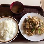 三笠 - 2016年09月21日  牛肉ととうふのニンニク炒め(ライス・スープ付き)600円