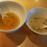 支那そば まるこう - スープ比較(左:支那そば、右:白湯そば)