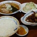 56452105 - ホルモン定食+ポテトサラダ+ラーメン                          ¥500   ¥140              ¥360