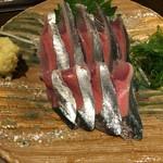 魚大将 うまかっぺや - 新サンマ刺(380円)
