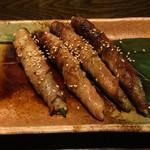 魚大将 うまかっぺや - オクラの豚肉巻き(380円)