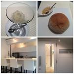 アッシュカー - シャーベット(お口直し)パンとひよこ豆、店内のカウンター席、入口