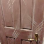 56502220 - ドアのひっかき傷が男女兼用トイレのしるし