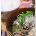 もがめUDON酒場 - 日替わり定食(牛ごぼう)