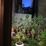 サマサマ - カウンターの背の窓から見える庭(2016年9月)