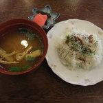 玄武風柳亭 - 洋風プレートランチ1200円(ライス、味噌汁、漬物)