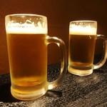 やきとり居酒屋しんちゃん - 飲み放題 の 生ビール。