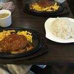 肉マル食堂 - ランチ煮込みハンバーグ500円