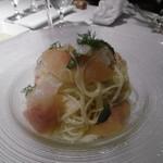 Drammatico - 桃と白身魚の冷パスタ