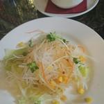 56531780 - 昼:オムライスについてた前菜のサラダとスープ