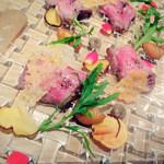 Restaurant MOTORA - 黒毛和牛のカルパッチョ仕立て