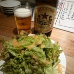 十七番地 - 瓶ビール(税込550円)とお通し(税込300円)