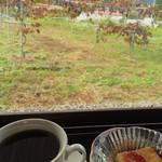 山ぶどう農園 野の香 - ランチセット800円の山ぶどうレアチーズケーキとコーヒー…窓の向こうには山ぶどう畑と高倉山が見えます♪