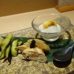日本酒と焼鳥 百 - ☆お付き出しは3種盛り☆