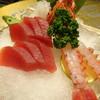 紅毛港海鮮餐廳 - 料理写真:1,280元のコース(刺身と甘海老の盛り合わせ)