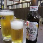 極楽湯 お食事処 - 2016/9②生ビール中とドライゼロ