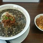 熊谷 - 担々麺 黒650円とミニ麻婆丼200円。