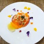ペペロッソ - 富士山サーモンの燻製のマリネ  トリエステ風西洋ワサビのソース、  ニジマスのキャビア添え