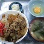 竹内食堂 - 牛丼(味噌汁、玉子、御新香)