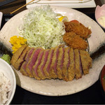 gyuukatsutonkatsujojokichi - 2016.09.26             サーロイン牛かつ膳+牡蠣フライ