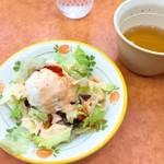 サイゼリヤ - ランチスープとサラダ