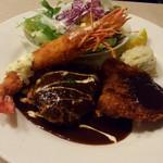 街の洋食屋 AKIRA - Aランチ 天然有頭エビフライ・自家製コロッケ・黒毛和牛のミニハンバーグ
