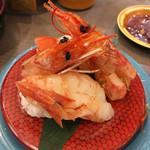 回転寿司 すし丸 - 料理写真:赤エビはプリプリ。ただ鬼殻焼き付き  ではなく鬼殻フライでした。