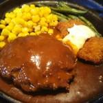 和風レストラン 魚勝 - 付け合せはコーン(けっこう甘かったです)とインゲン