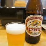 小磯すし - ドリンク写真:年中、まずはビールですね!(2016.9.29)