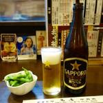 鳥辰 - [2016/09]サッポロ黒ラベル・中瓶(600円)