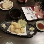 56693577 - <2016/9月>ハモの天ぷら 880円。レモン&お塩と、天つゆで。