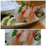 魚将 さかなちゃん - ◆たか海老刺し(1050円)・・甘エビを大きくしたような品。今回鹿児島で何度も頂きましたけれど、美味しい