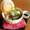 抹茶わらびもちと煎茶のパフェ