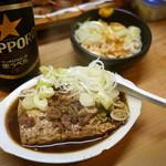 56698569 - 牛肉豆腐 ¥590 (奥)鳥皮からし和え ¥450