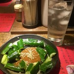 ラーメンBAR やきそばー HIT - たたききゅうり201608