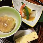 花てい - 料理写真:イチジクの天ぷらに餡がかかったものなどの先付